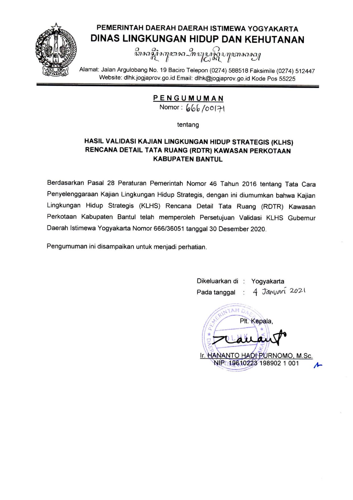 Hasil Validasi KLHS RDTR Kawasan Perkotaan Kabupaten Bantul