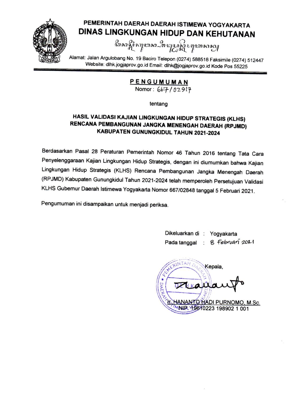 Hasil Validasi Kajian Lingkungan Hidup Strategis (KLHS) RPJMD Kabupaten Gunungkidul Tahun 2021 - 2024